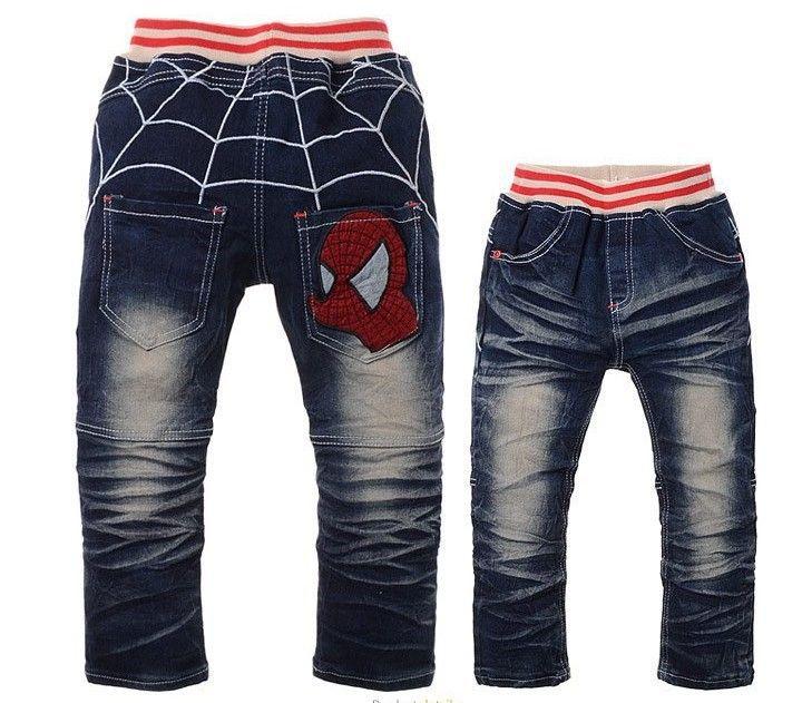 Kids Boys Spider-Man Pants spring and autumn Cartoon Jeans Denim Pants