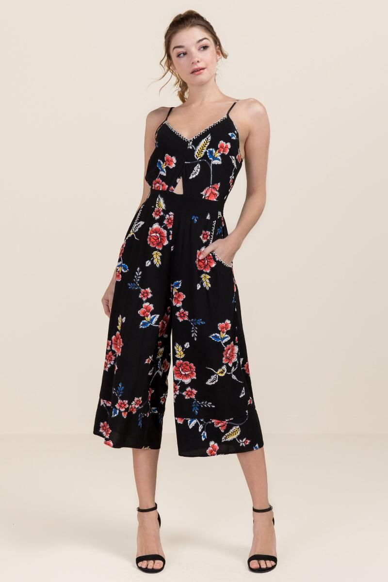47ac5cf6170 Bristol Floral Embroidered Jumpsuit- Black