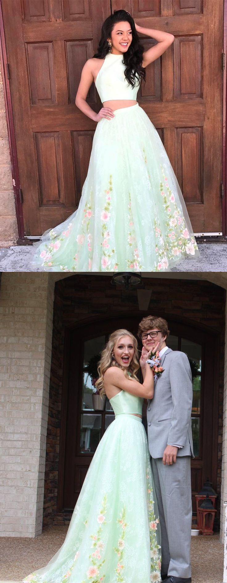 Two piece mint green floral long prom dress from modseleystore