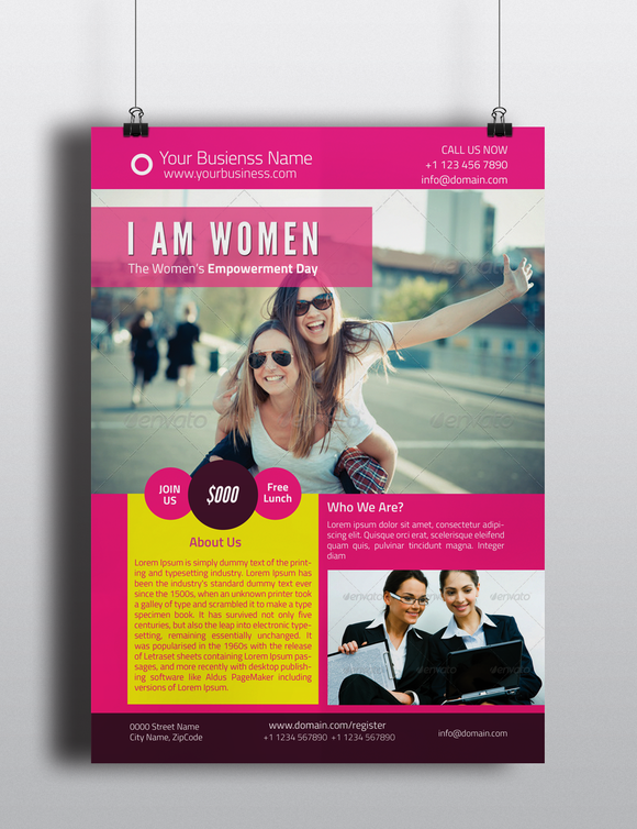 Women Empowerment Event Flyer  Graphic Design  Fonts Logos