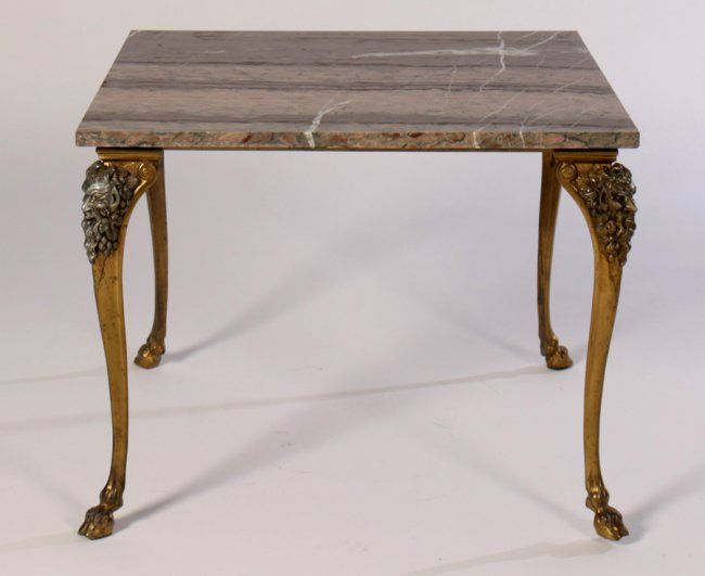 Bronze Side Table Marble Top Cabriole Legs 1940 Feb 07 2015 Kamelot Auctions In Pa Marble Top Side Table Bronze Side Table Marble Top