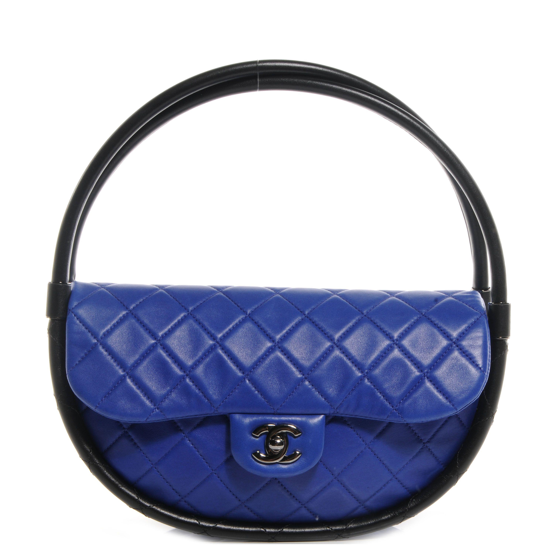 f606934b4ec8 CHANEL Quilted Lambskin Small Hula Hoop Flap Dark Blue | lizzy ...