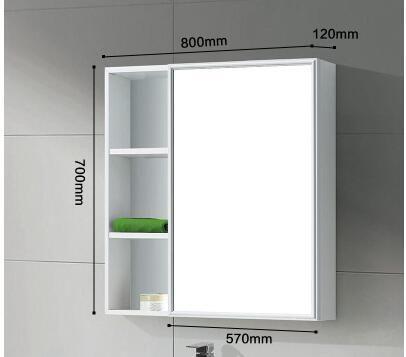 Waterproof Bathroom Mirror Solid Wood Storage Mirror Bathroom Cabinet Shelf Storage Mirror Solid Wood Storage Wooden Bathroom Mirror