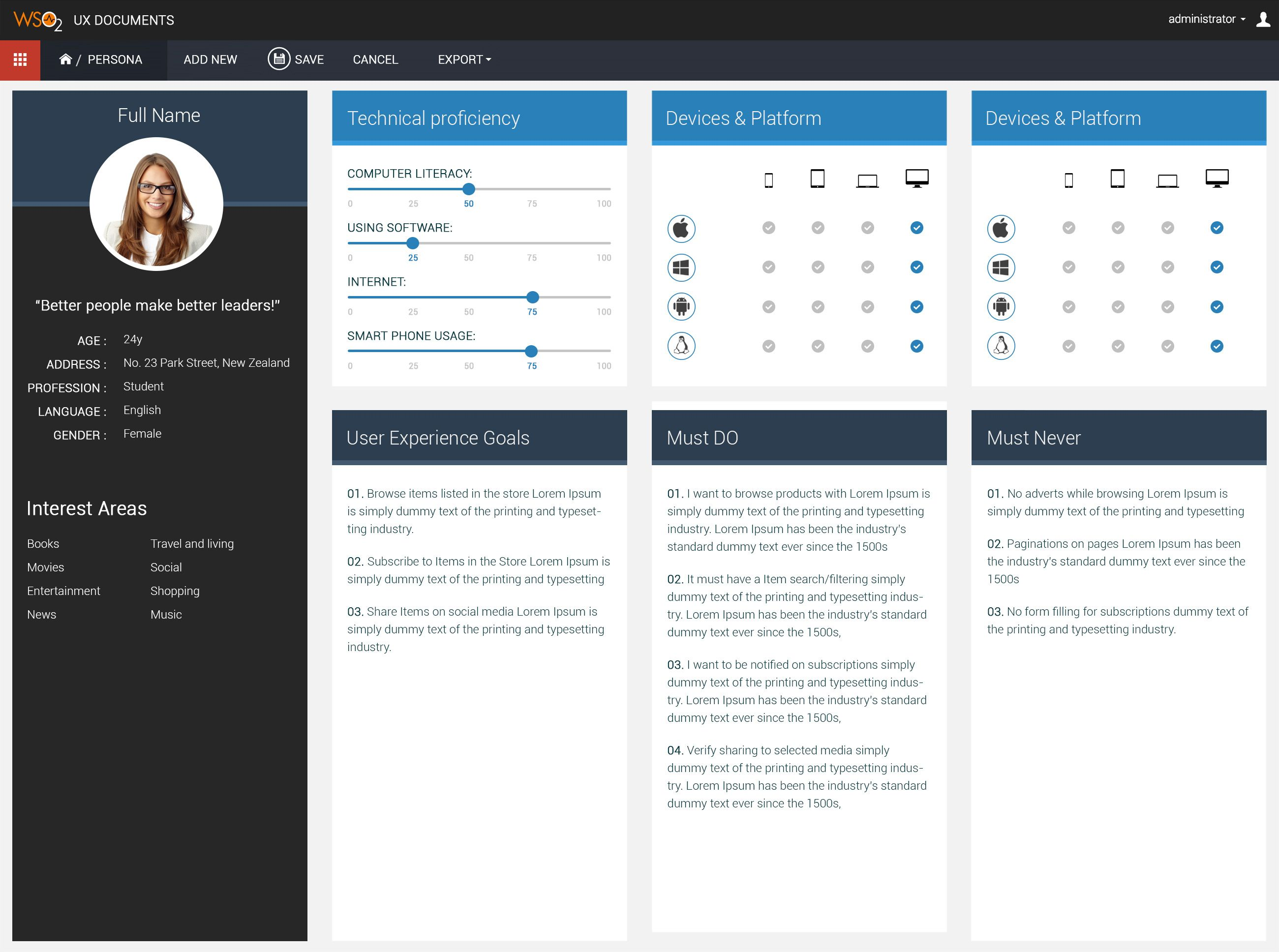 WSO2 UX] Persona template layout | Designs | Pinterest