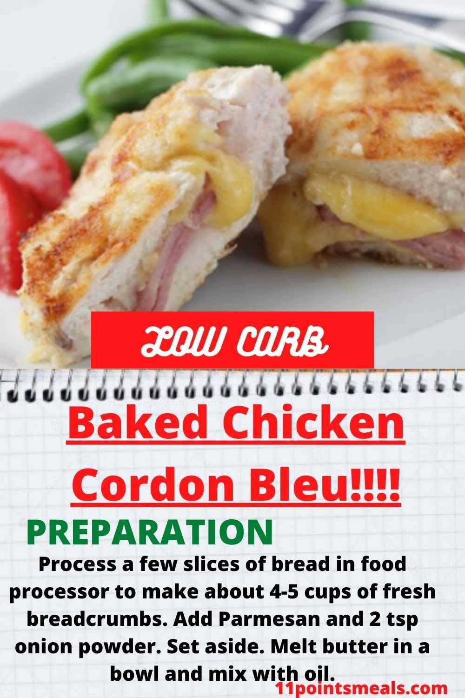 Baked Chicken Cordon Bleu In 2020 Baked Chicken Cordon Bleu Chicken Cordon Bleu Food Processor Recipes