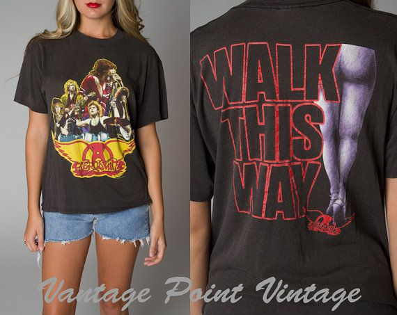 Vintage 1988 Aerosmith Tshirt Concert Walk This Way Tour By