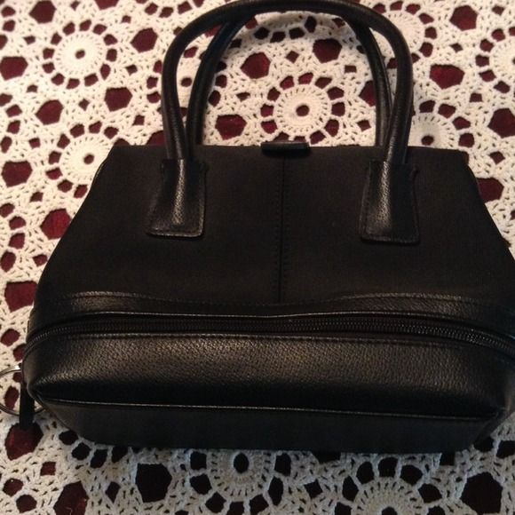 """Cute Nine West bag Leather and tough material. Opens like a Dr. Bag has a zippered compartment on bottom 6"""" x9"""" Nine West Bags"""