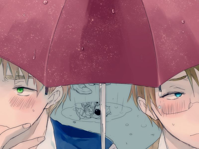 扇 - Hetalia - America / England | is that spain and france in the background/reflection of the puddle?