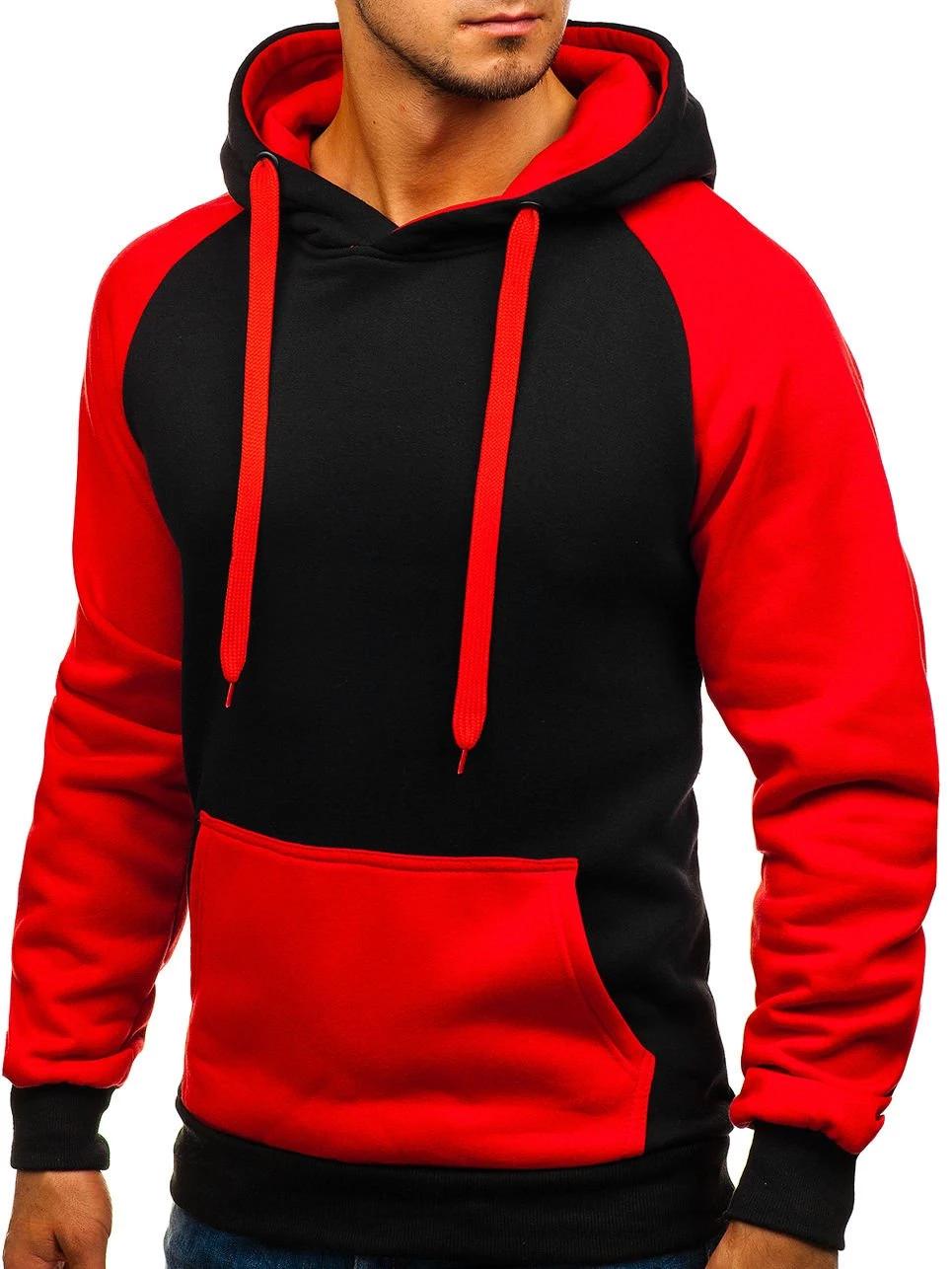 Photo of Men Hoodies Top Brand Hip Hop Solid Color Stitching Hoodies