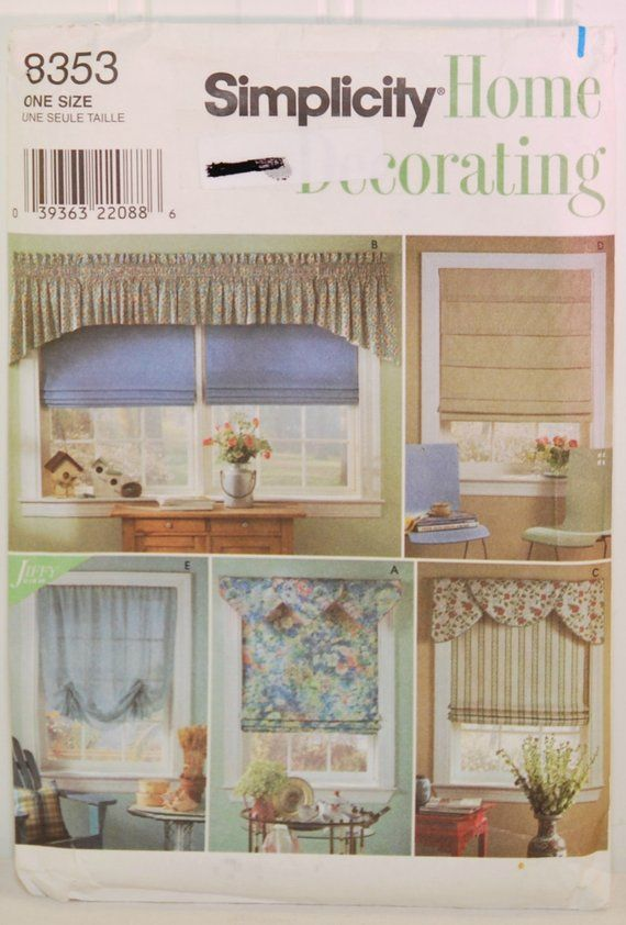 Simplicity Home Decorating 8353 C 1998 Roman Shades Valance Swags Decor Window Treatment