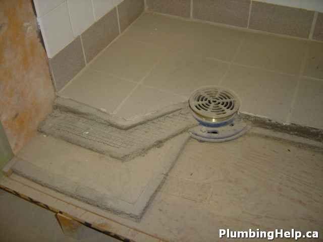 concrete shower pan
