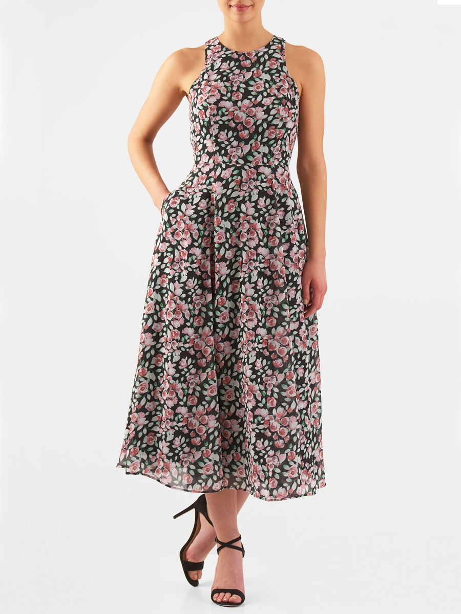 eacbb230c6 Perfect for summer weddings, eShakti Floral print racerback midi dress