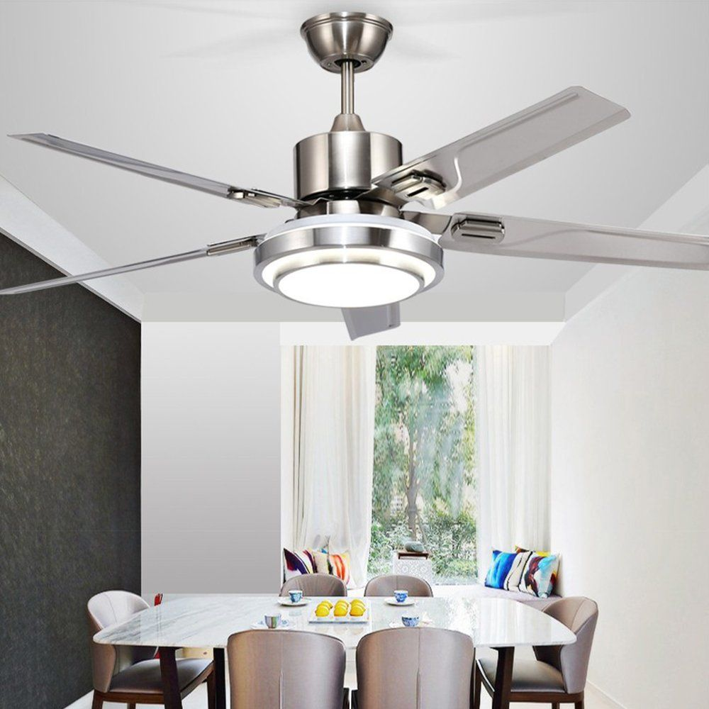 Andersonlight 48inch Contemporary Led Ceiling Fan 5 Stainless Steel Blades And Remote Control 3light Changes In Elegant Ceiling Fan Ceiling Fan Led Ceiling Fan