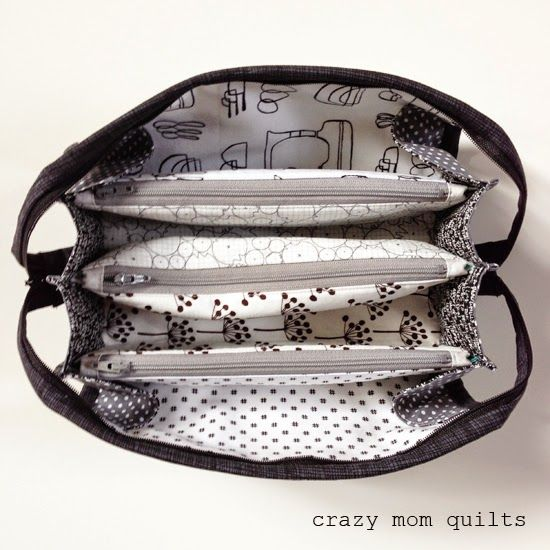 zipper modifications for sew together bag from crazy mom quilts