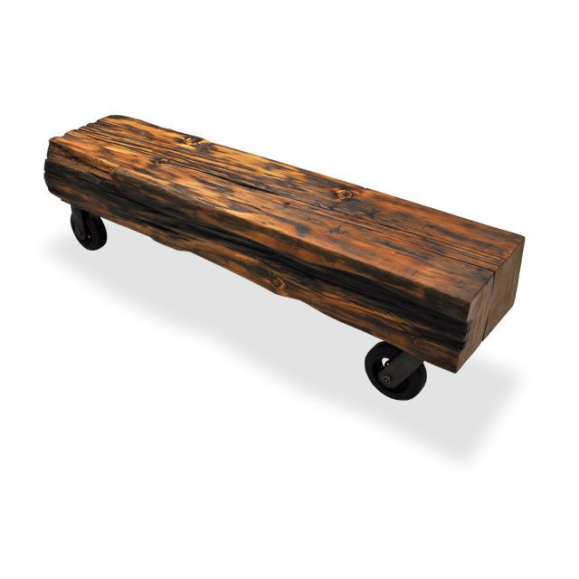 Live Edge Coffee Table Toronto: Douglas Fir Beam Bench On Industrial Casters By Urban Tree