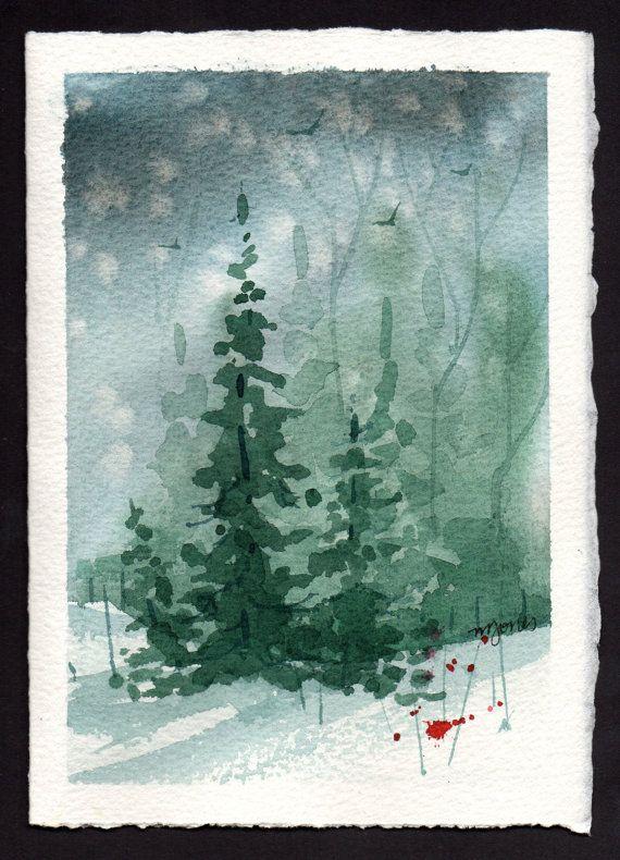 Beautiful Original Watercolor Christmas Card By By Mjonesart