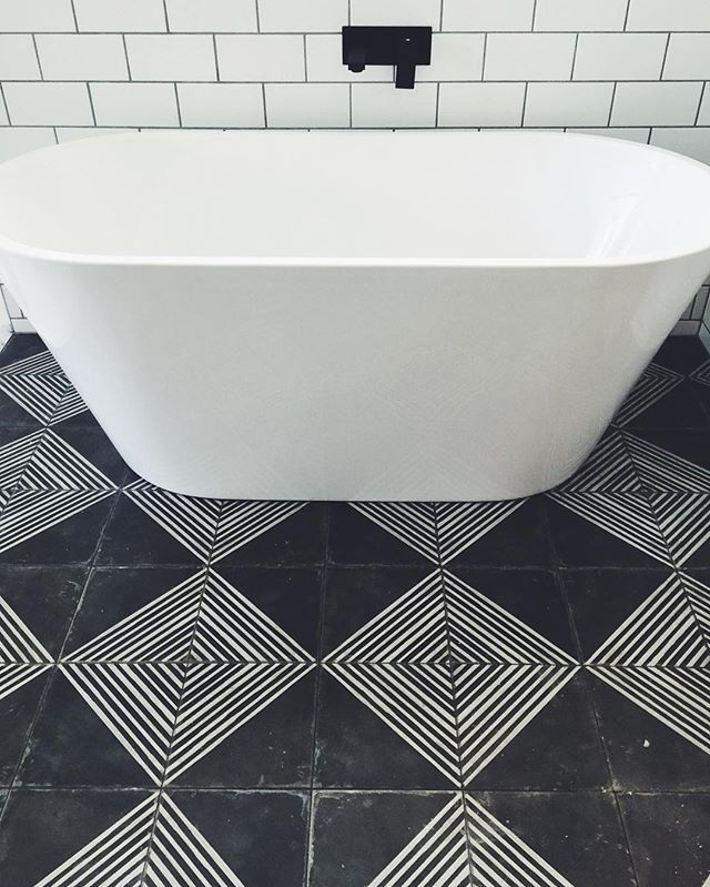 Black And White Cement Tile Love B A T H R O O M S
