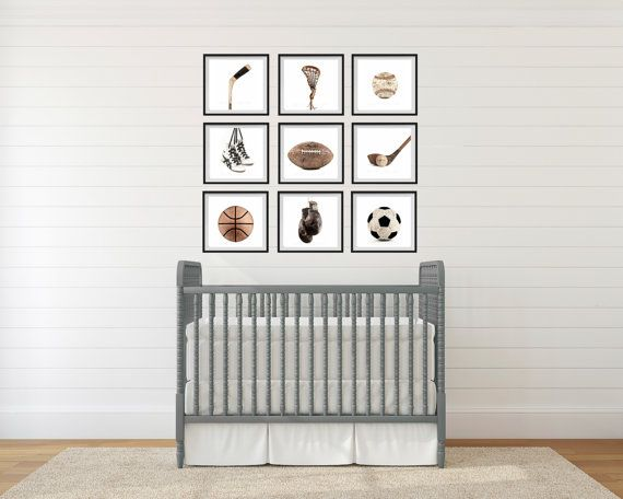 The Sports Collection On White Background Set Of Nine Photo Prints Nursery Decor
