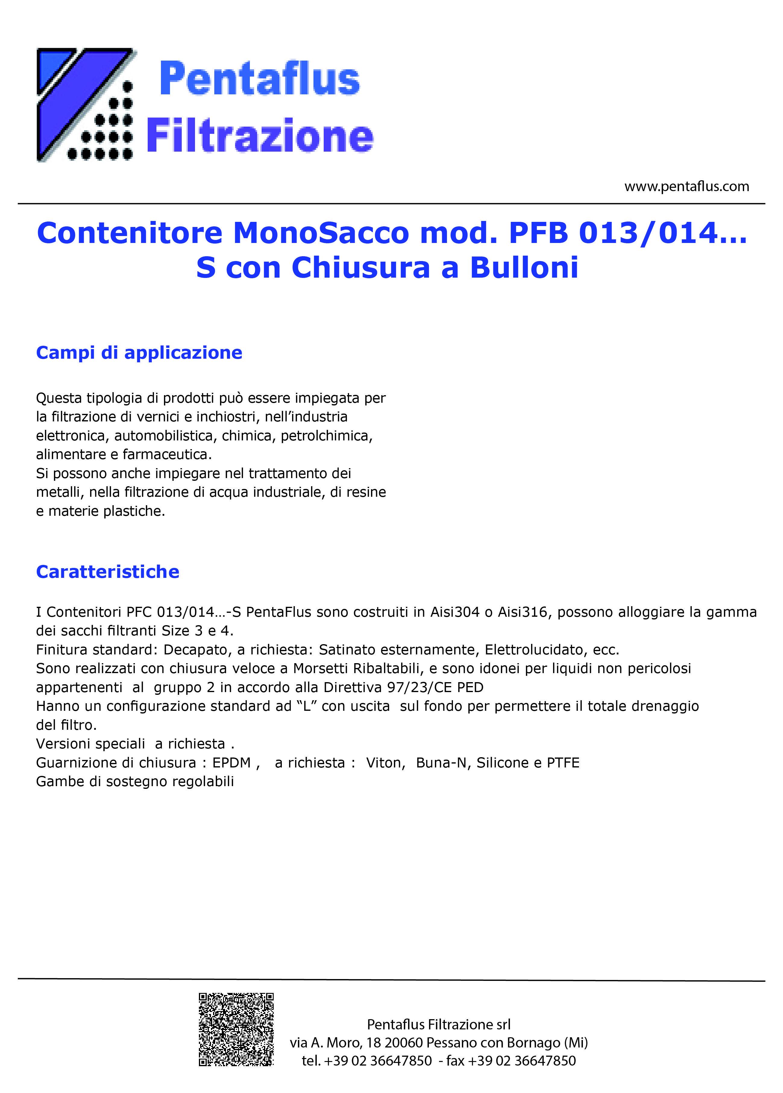 Contenitore MonoSacco mod. PFB 013/014… S con Chiusura a Bulloni