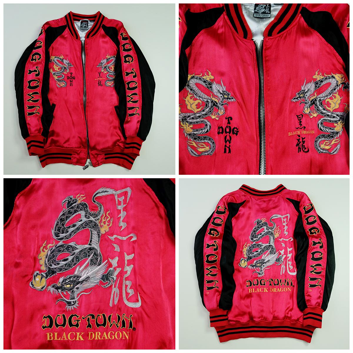 44516735a4d Vintage Japanese Dogtown Red Black Dragon Embroidered Sukajan Souvenir  Jacket - Japan Lover Me Store