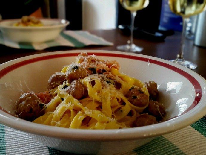 Pasta Carbonara met worst