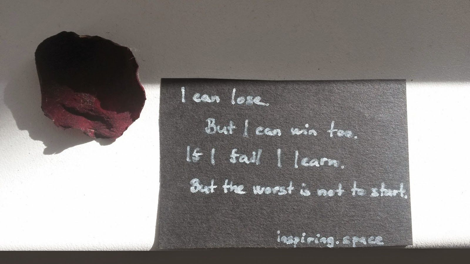I can lose.   But I can win too.  If I fail I learn.   But the worst is not to start.