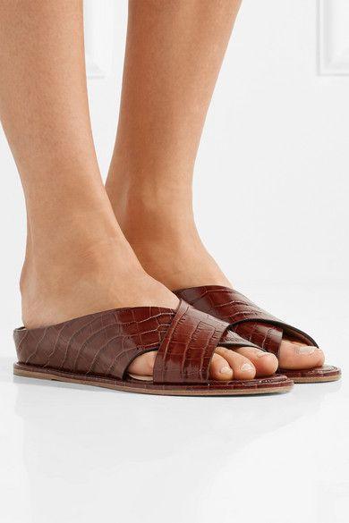 Ellington Croc-effect Leather Wedge Sandals - Brown Gabriela Hearst 7aDRdp14N