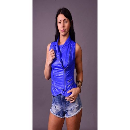 Women's Blue Moto Zipper Front Vegan Leather Vest