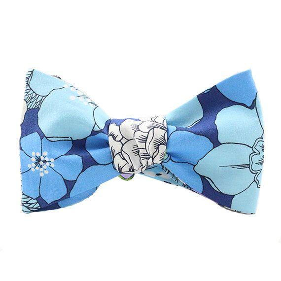 Blue Floral Print Bow Tie Handmade by LW by LWbyLordWallington