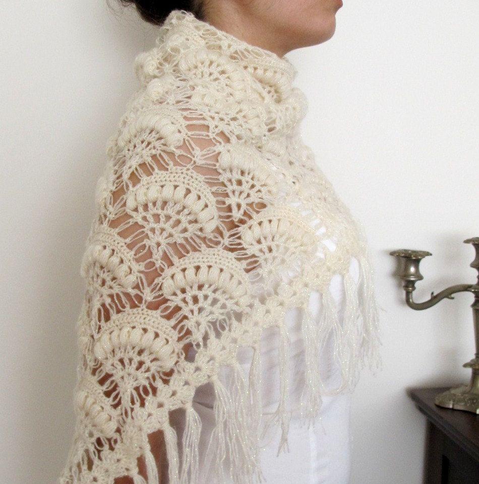 Bridal Shawl Knitting Pattern : crocheted wedding shawls NEW DESIGN Bridal Crochet Shawl ivory shining We...