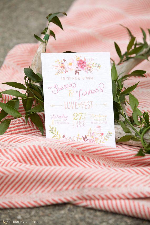 Boho Chic invitación de la boda blush y rosa flores   Bodas ...