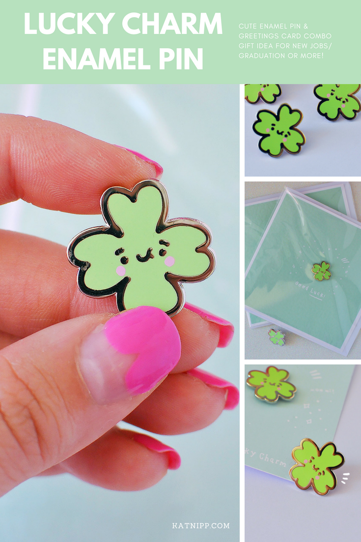 Cute Enamel Pin Gift Lucky Charm Good Luck Greetings Card Kawaii Gifts Graduation New Jo