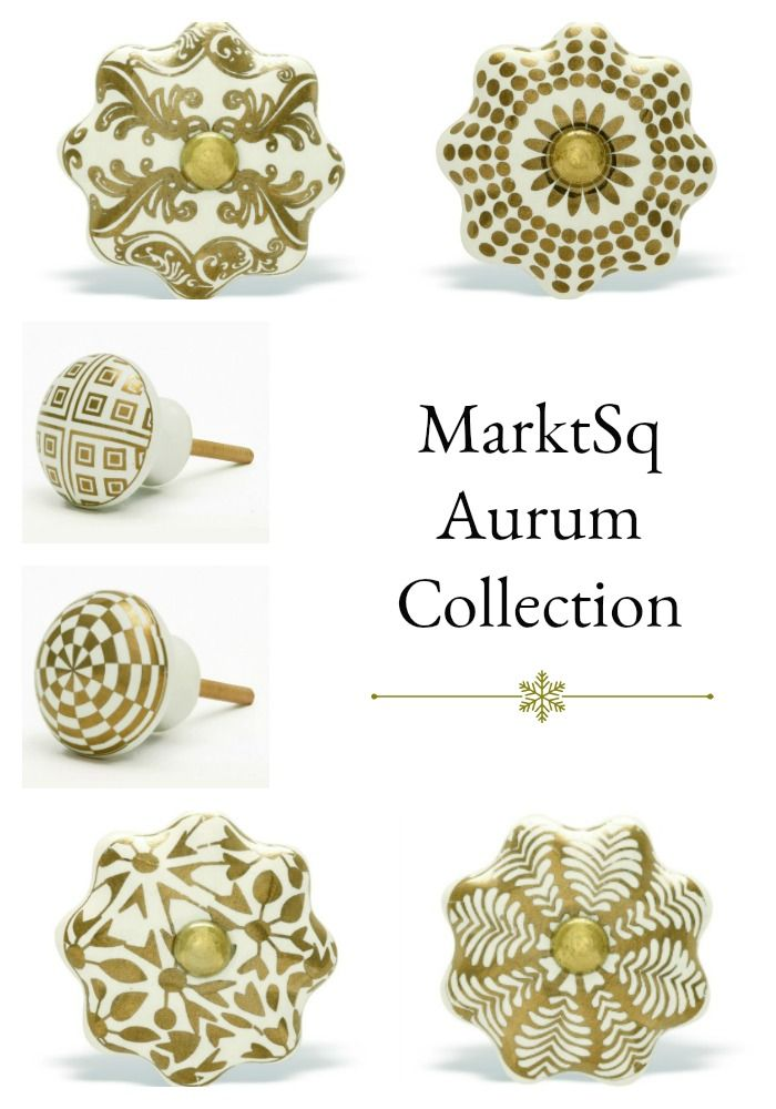 Collection Of Ceramic Cabinet Knobs In Exquisite Gold Patterns.