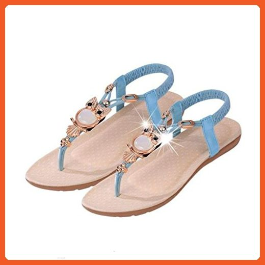 18f27b9d3 Inkach® Women Summer Sandals Women Rhinestone Owl Sweet Sandals Clip Toe  Sandals Beach Shoes (5.5 B(M) US