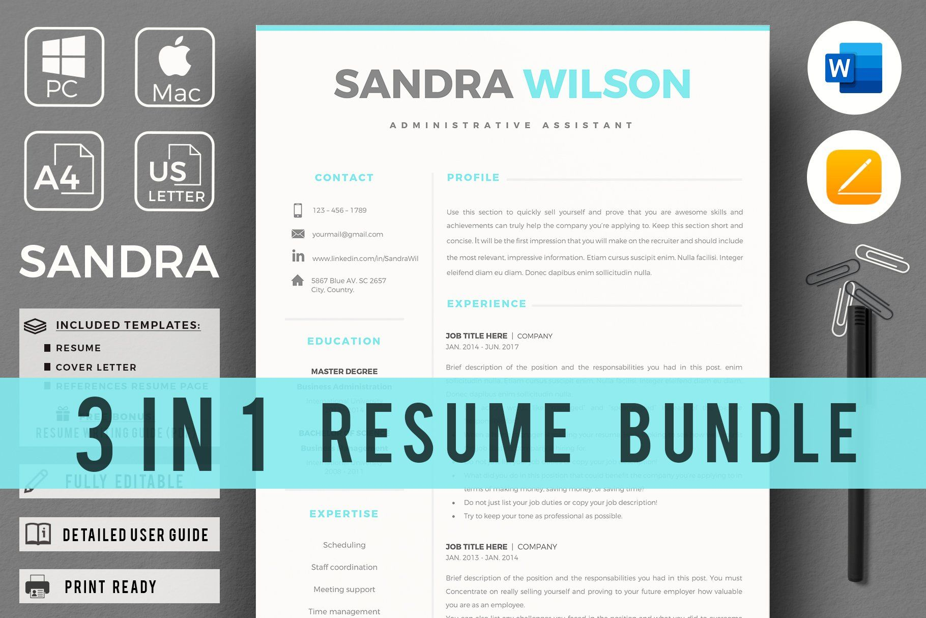 1, 2 & 3 Pages Word Resume Template Resume template