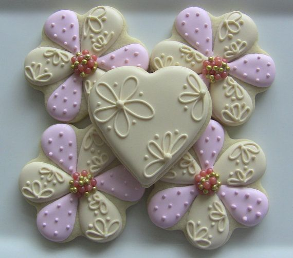 one dozen elegant flower decorated sugar cookies for