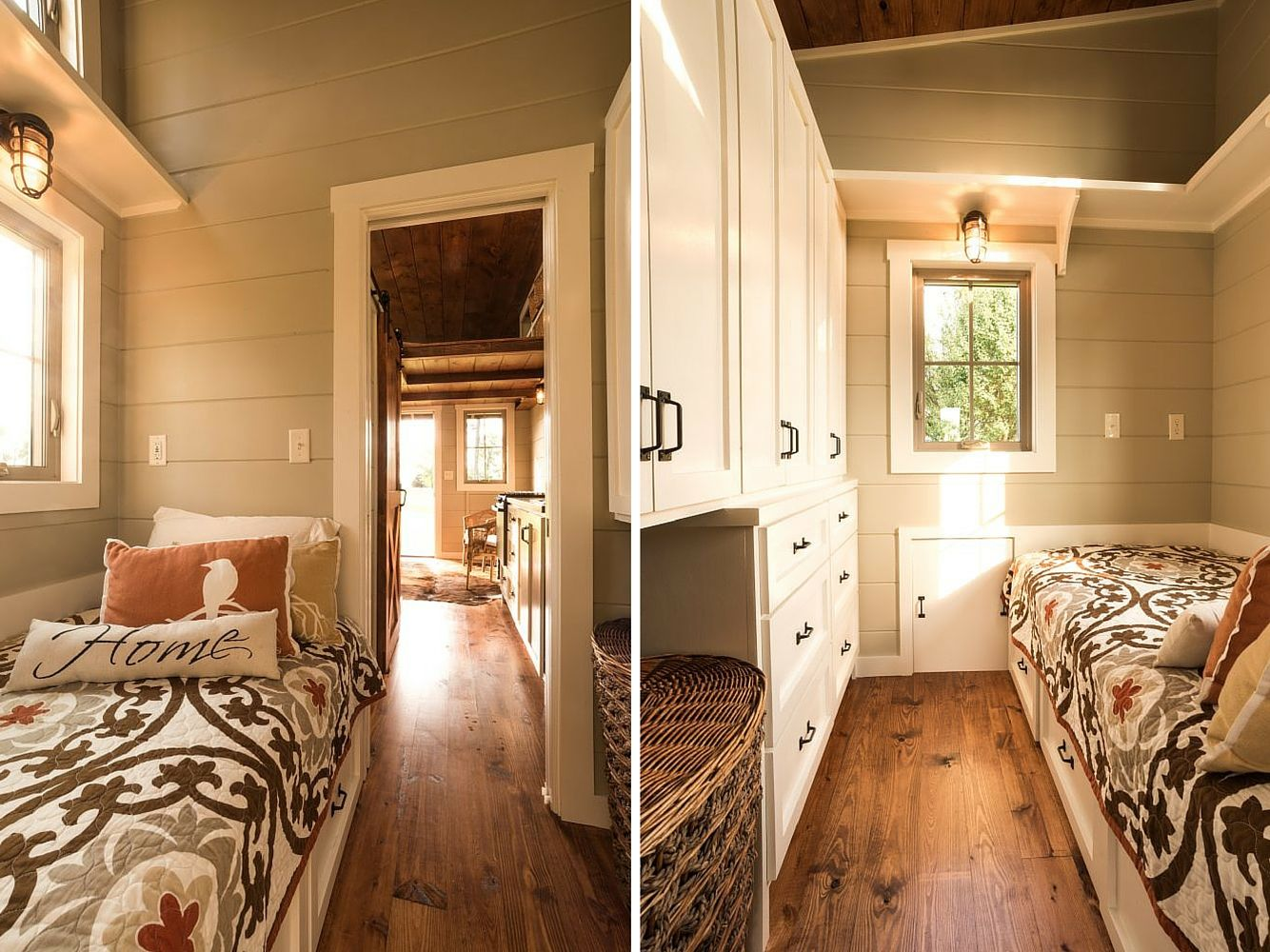 First Floor, Tiny House Guest Room with a Wall of Storage