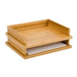Bamboo Stacking Letter Tray From The Container Store 4 Trays