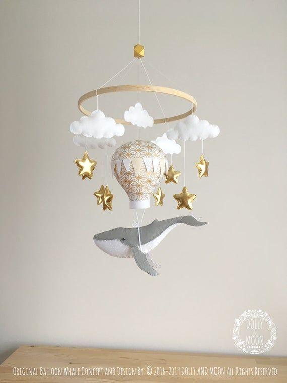 Whale baby mobile, whale nursery decor, balloon whale mobile, whale nursery mobile