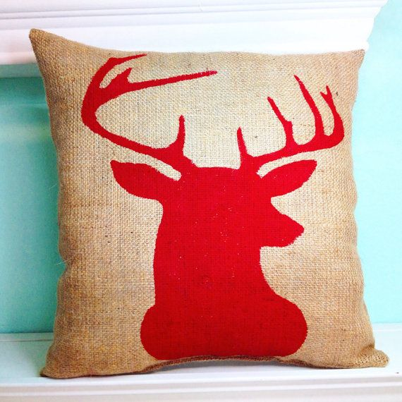 Burlap Reindeer Silhouette Pillow