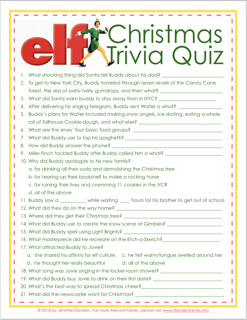 Elf Christmas Quiz