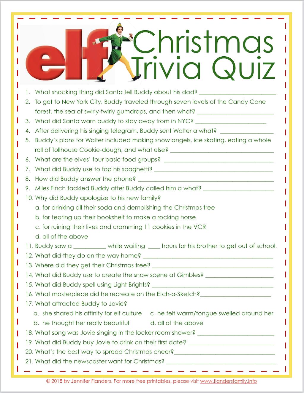 Elf Christmas Quiz