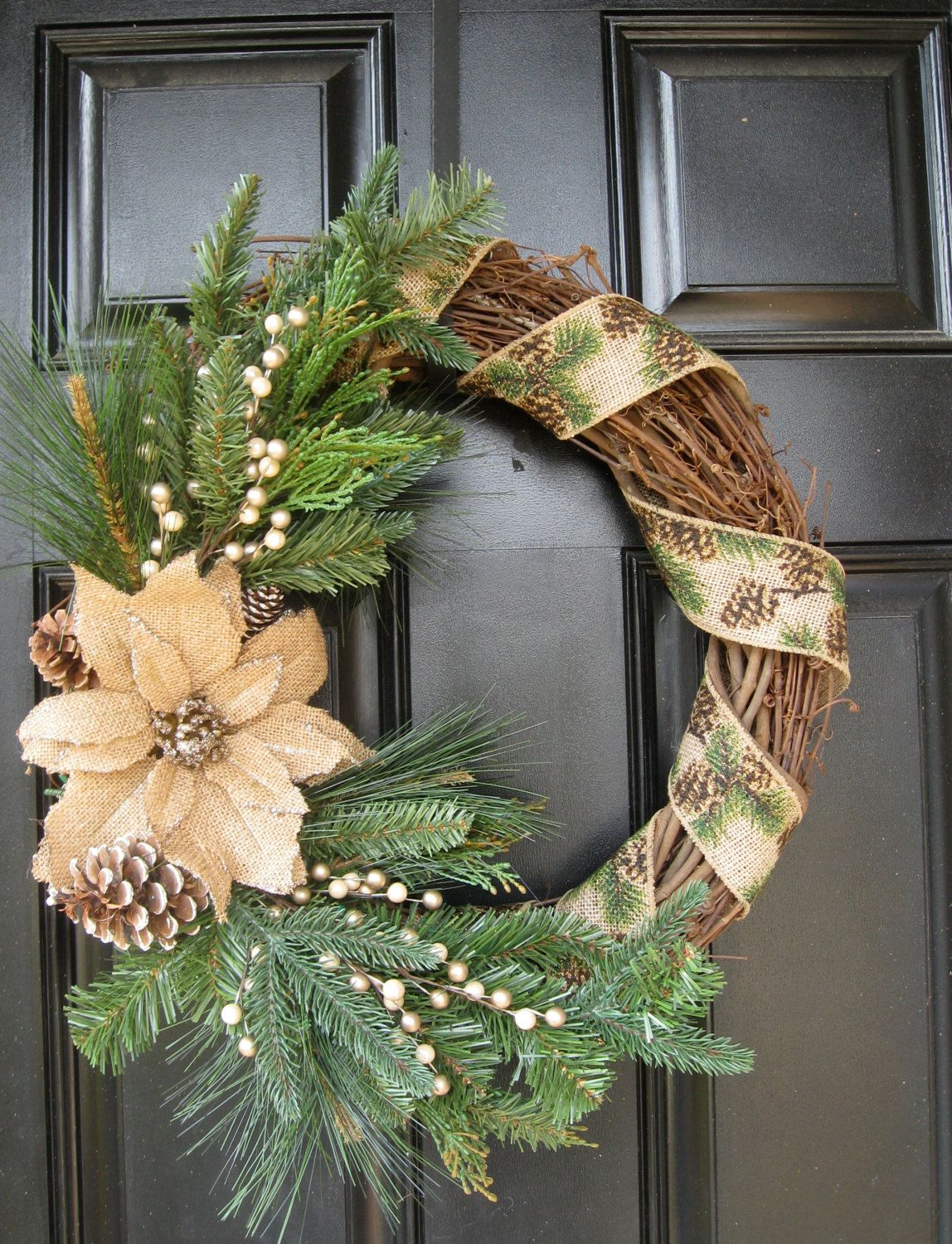 Rustic evergreen and burlap christmas wreath by for Burlap wreath with lights