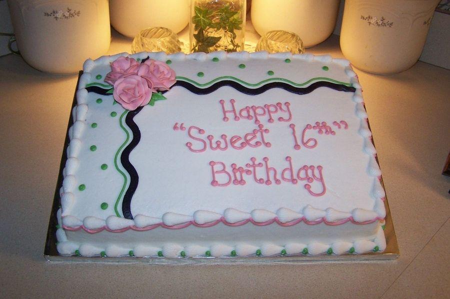 Sweet 16 Sheet Cake With Images Birthday Sheet Cakes Sheet