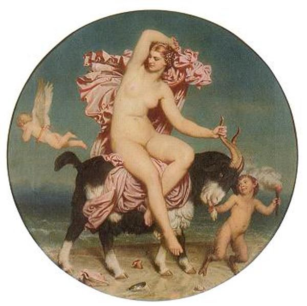"""Charles Gleyre - """"Venus Pandemos"""". Description A nude Venus riding a goat in a seaside setting. She holds a mantle in her right hand and goat horn in her left while watching Cupid fly in the opposite direction. A satyr (looking at Venus) leads the goat by its beard and holds a torch. 1852-53"""