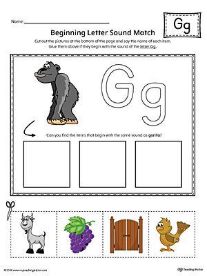 Letter G Beginning Sound Picture Match Worksheet (Color) | Alphabet ...