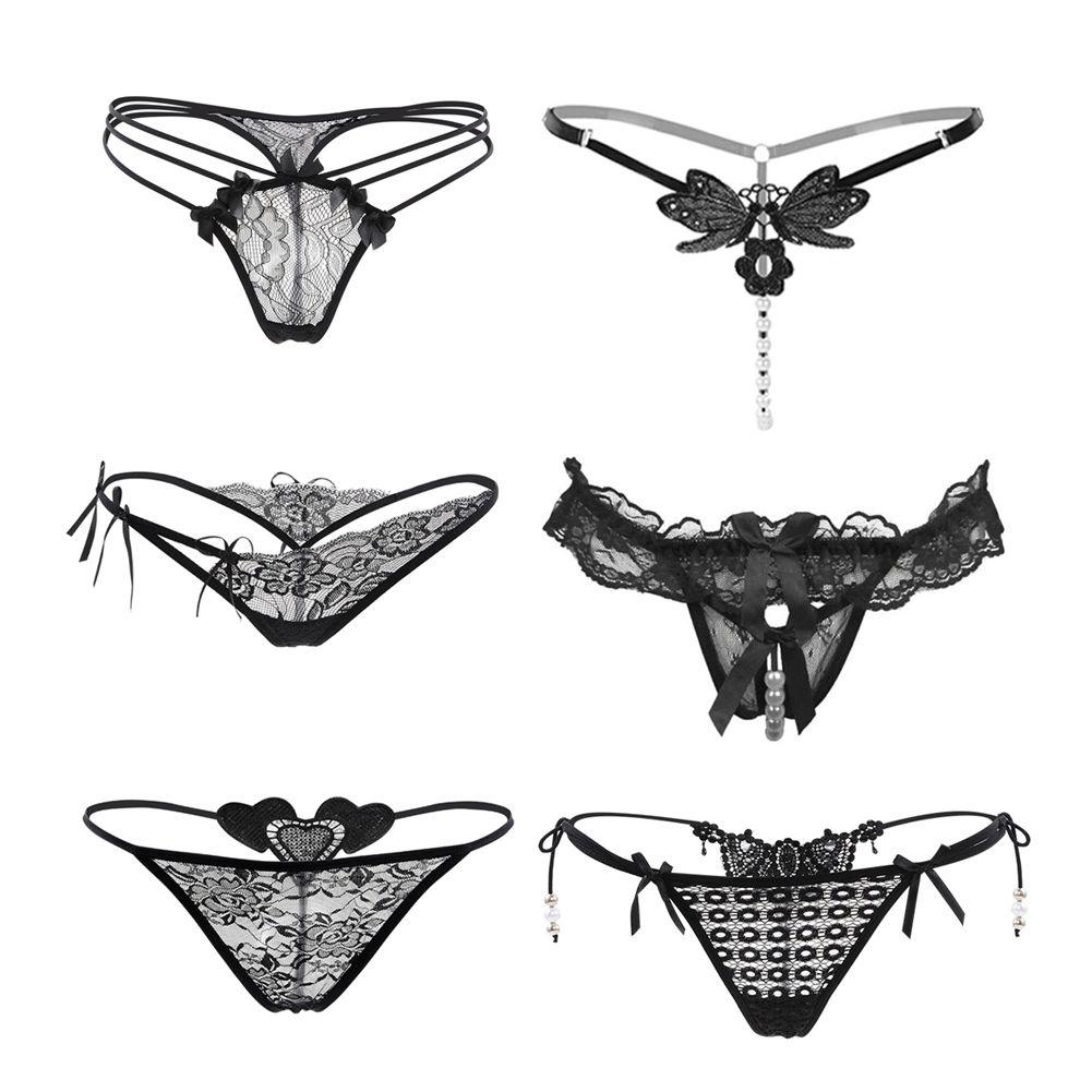 e15c83ba5e7 #Nightaste Women's Black Charming #Thong #LaceG-String Soft Breathable  Panties (6 Styles/Pack)