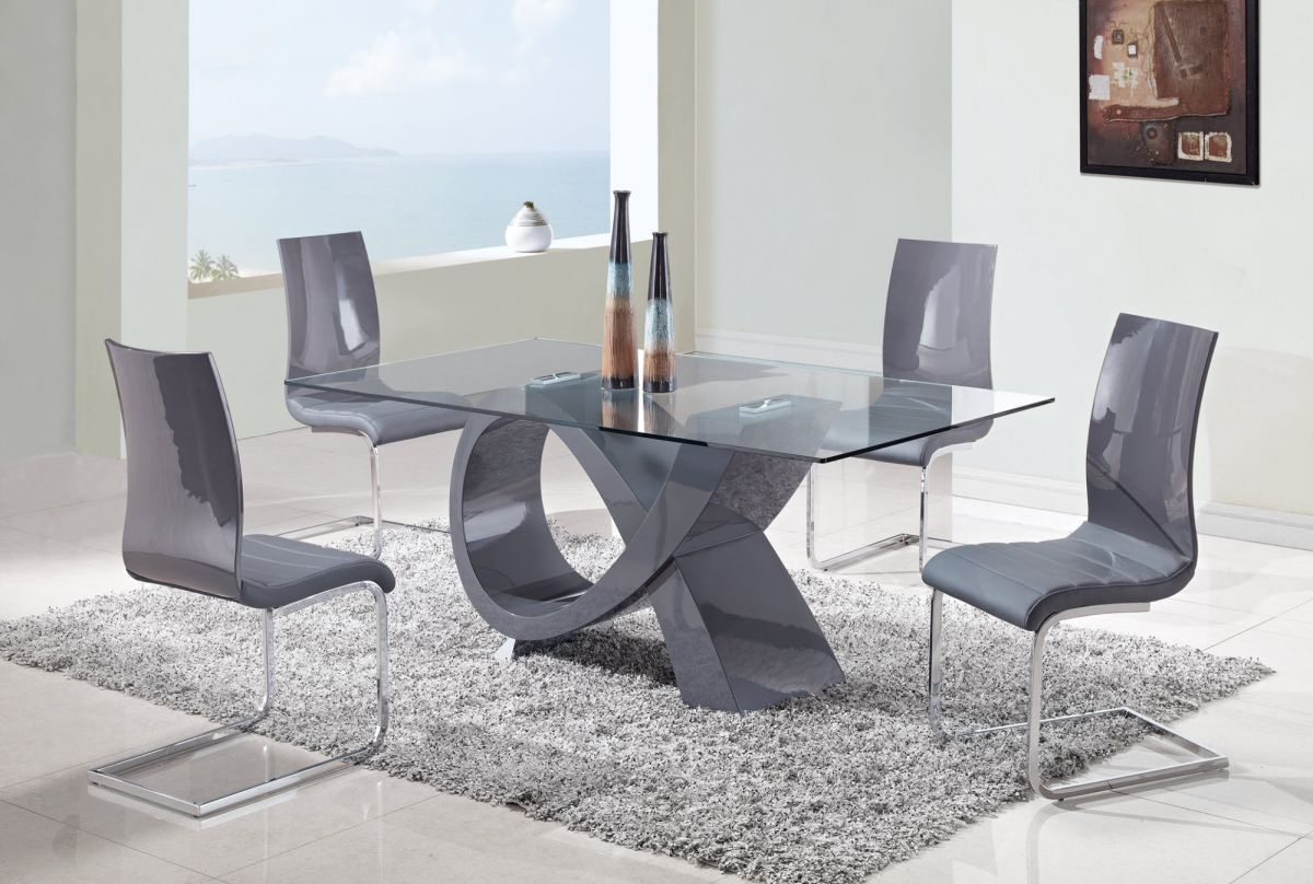 High Dining Table Modern Glass With Grey End Chair And By Suprin Intended For Design Nice Decoration Pivate Or