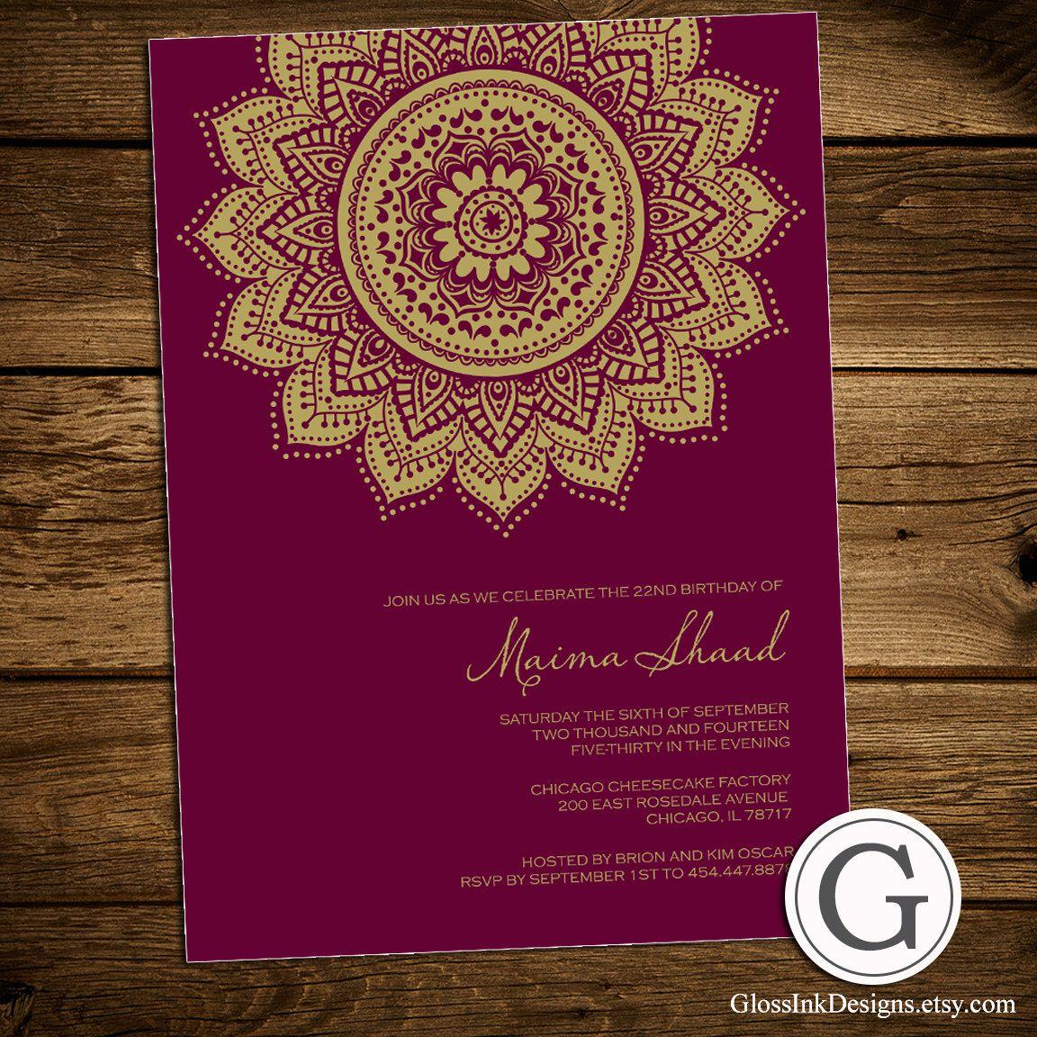 Birthday celebration invitation traditional henna mehndi design birthday party invitation inspired by by perfectpeardesigns stopboris Choice Image