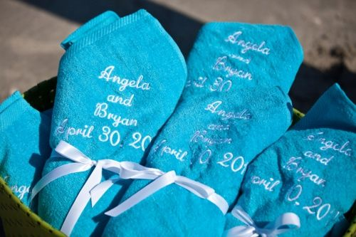 Beach towel wedding favors personalized with the couple\'s name ...